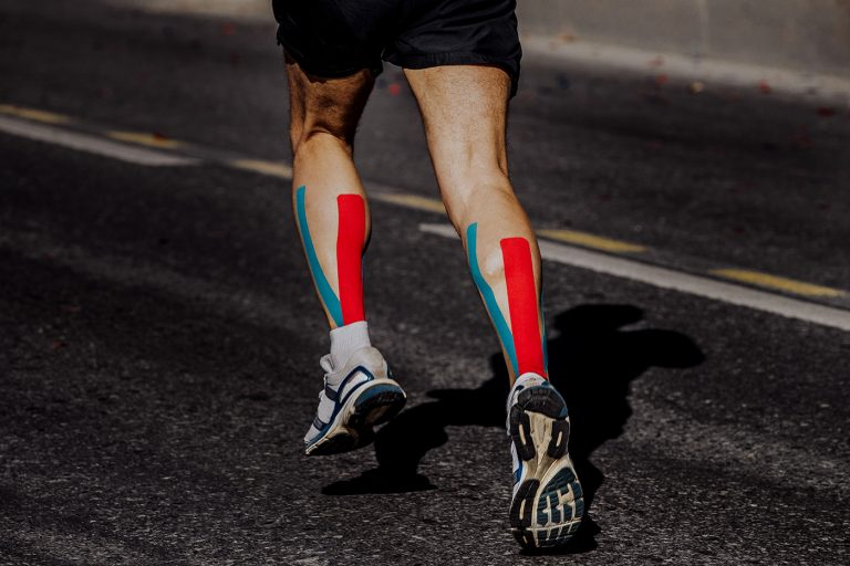 kinesio taping on muscles of calf